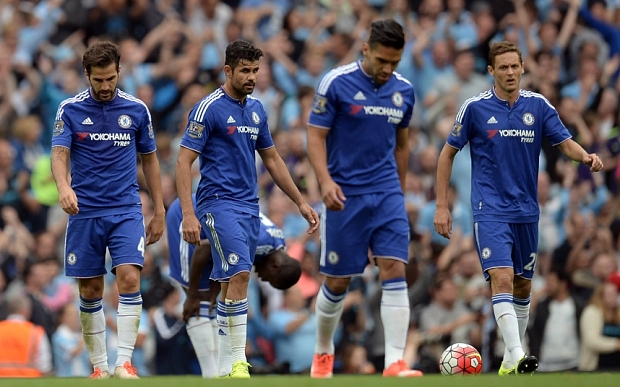 (L-R) Chelsea's Spanish midfielder Cesc Fabregas, Chelsea's Brazilian-born Spanish striker Diego Costa, Chelsea's Colombian striker Radamel Falcao and Chelsea's Serbian midfielder Nemanja Matic react to going 3-0 down in the English Premier League football match between Manchester City and Chelsea at The Etihad stadium in Manchester, north west England on August 16, 2015. AFP PHOTO / OLI SCARFF RESTRICTED TO EDITORIAL USE. No use with unauthorized audio, video, data, fixture lists, club/league logos or 'live' services. Online in-match use limited to 75 images, no video emulation. No use in betting, games or single club/league/player publications.OLI SCARFF/AFP/Getty Images